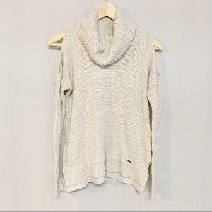 Hollister cold shoulder oatmeal cowl neck sweater